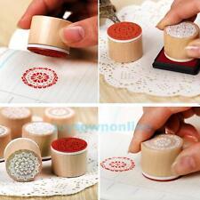 6PCS Round Wooden Rubber Retro Floral Pattern Stamp DIY Craft Scrapbooking Decor