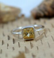 Natural Citrine 925 Sterling Silver Handmade Square Cut Gemstone Jewelry Ring