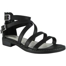 Womens Strappy Gladiator Sandals Ladies Summer Buckle Flats Low Heel Shoes Size Black UK 6 / EU 39 / US 8