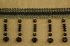 10 Yards Beaded FRINGE Trim for DRAPERY and UPHOLSTERY in (Gold / Black)