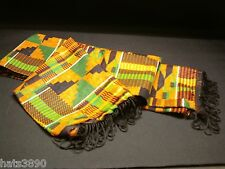 Scarf Kente pattern on cotton new 11 1/2 by  45  inches red green orange black