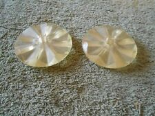 Vtg Pair of Plastic Diamond Cut Design Lamp Chandelier Rosette Disc Spacers