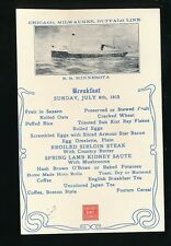 Shipping Chicago Milwaukee Buffalo Line SS MINNESOTA Breakfast Menu 1913 PPC