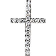 Petite Cruz Diamante 45.7cm Collar en 14k ORO BLANCO ( 1/2 Ct. TW