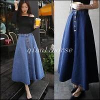 Vintage Women A-line High Waist Fashion Long Midi Denim Flare Party Skater Skirt