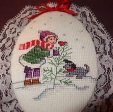 New Puppy Bird Girl Christmas Tree Ornament Finished Cross Stitch Handmade 5""