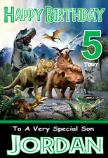 DINOSAURS Personalised Birthday Card 1 ANY NAME,AGE,RELATVE !!COOL CARD!!