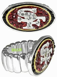 NFL San Francisco 49ers Women's Crystal Ring -Official Licensed