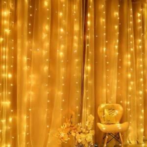 Warm 3M 300 LED Waterfall Curtain String Fairy Lights Xmas Windows Wedding UK