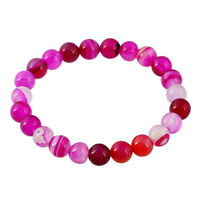 8MM Natural Banded Agate Gemstone Round Beads Women Stretch Bangle Bracelet Gift