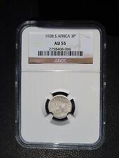 1928 South Africa 3 Pence, NGC AU 55
