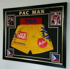 Rare Manny Pacquiao Signed boxing SHORTS TRUNKS Autographed Display v MAYWEATHER