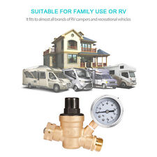 "Adjustable RV Water Pressure Regulator w/ tainless Steel Gauge 3/4"" NH Threading"