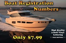 "3"" Vessel Registration Number Decals (pair) for Boat and PWC"