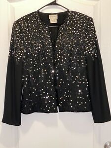 Vintage STENAY 100% Polyester Black Beaded Sequin Jacket Button Down Size 16