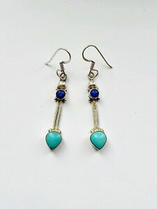 Sterling Silver Earrings Turquoise Lapis Drop Dangle 4.3g