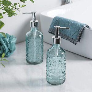 Bathroom Accessory Embossed Glass Soap/Lotion Dispenser Bottle Set of 2