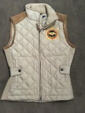 Ralph Lauren sport Quilted Equestrian Barn Puffer calf suede Vest ivory small