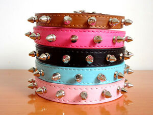 New Spiked Studded PU Leather Dog Collars Puppy Small Dog Pet Collars S M L XL