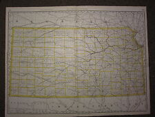 1890 LARGE MAP ~ KANSAS STATE COUNTY RAILROAD ~ EXCELLENT CONDITION RAND MCNALLY
