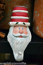 SANTA HEAD CHRISTMAS STOCKING or ORNAMENT HANGER WITH TEA LIGHT IN HIS HAT