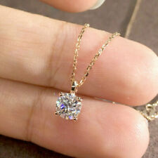 """1.00 Ct Diamond Round Cut 14k Yellow Gold Finish Solitaire Pendant Necklaces 18"""""""