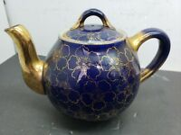 Hall Teapot China Blue and Gold Look!