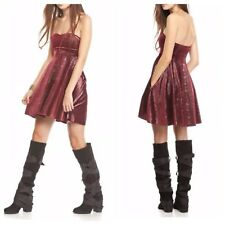 Free People Removable Straps Shattered Velvet Berry Dress Size XS $98 NWT