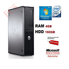 WIRELESS DELL DESKTOP PC 160GB 4GB CORE 2DUO WINDOWS 7 COMPUTER TOWER SALE CHEAP