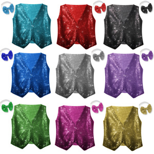 SEQUIN Sparkle WAISTCOAT Dance Party Show Costumes Boys/Girls Dance Wear