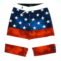 Vans Mens Red White Blue American Flag Print Board Shorts Size 26/12 Surf Swim