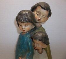 """Vintage German HANDARBEIT Pottery CHILDREN WITH BIRD Figurine 9.75"""""""