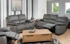 Lisbon Fabric Grey Electric Recliner Sofa 3 + 2 Seater + Armchair USB NCF Living