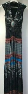 New SALIMA MAXI DRESS black Maxi Dress with silver & turquoise size S Made inUSA