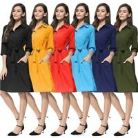 Women's Button Strappy Midi Dresses Fashion Ladies Summer Holiday Beach Dress