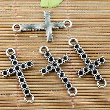 12pcs Tibetan silver cross cab setting connectors EF1864