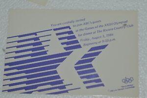 Vintage 1984 LA Olympics ABC Network Hospitality Dinner Invitations RARE HTF