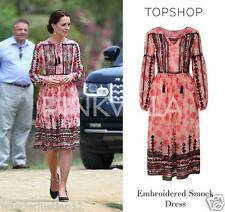 Topshop Embroidered Print Midi Dress - size 2