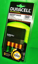 BRAND NEW! DURACELL is1000 Battery Charger & 4 AA Rechargeable Batteries Pack