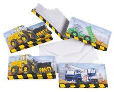 AMSCAN - Lot 8 Cartes invitation + enveloppes Engin de Construction