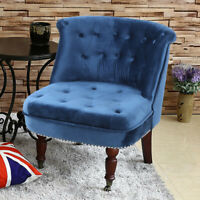 Velvet Fabric Blue Chesterfield Sofa Button Tub Armchair Occasional Accent Chair