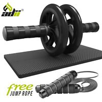 Ab Roller Wheel with Knee Mat and Jump Rope - Abdominal workout Core fitness Gym