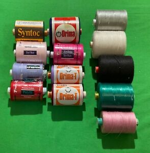 Assortment Of 13 Vintage Cotton Reels Sewing Machine Thread Sylko Coats Syntoc