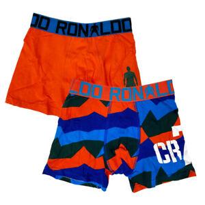 CR7 CRISTIANO RONALDO KIDS BOYS 2 PACK BOXER SHORTS IN BLUE/ ORANGE / BNWT /