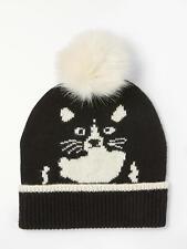 New John Lewis Weekend Hidden Cat Pom Beanie Hat, Black