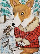 Pembroke Welsh Corgi Learning to Ice Skate Folk Art Print 8 x 10 Dog Collectible