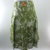 Old Navy L Skirt Green Tropical Hibiscus Hawaiian Tiki Cotton Lined Knee Length