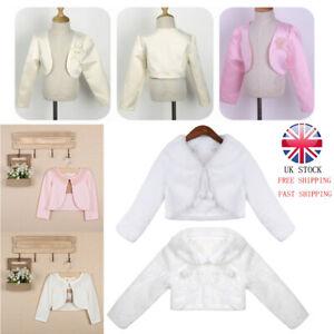 UK Kids Girls Bolero Jacket Shrug Short Cardigan Long Sleeves Dress Cover Up