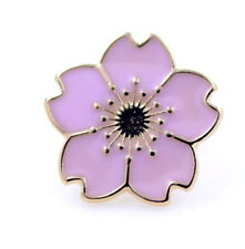 Pink and gold enamel plum flower brooch / pin