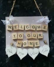 shabby chic personalised welcome to our home plaque sign